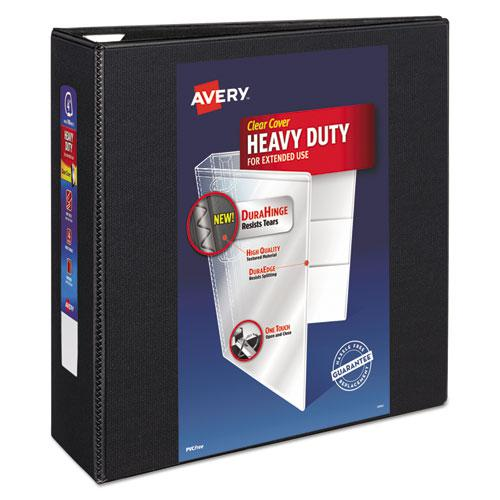 """Heavy-Duty View Binder with DuraHinge and Locking One Touch EZD Rings, 3 Rings, 4"""" Capacity, 11 x 8.5, Black. Picture 1"""