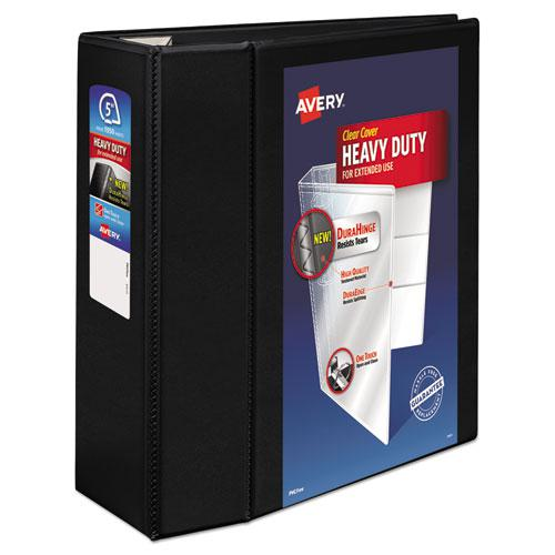 """Heavy-Duty View Binder with DuraHinge and Locking One Touch EZD Rings, 3 Rings, 5"""" Capacity, 11 x 8.5, Black. Picture 1"""