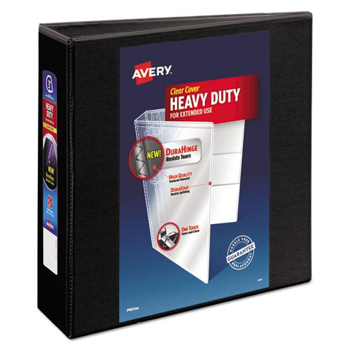 """Heavy-Duty View Binder with DuraHinge and Locking One Touch EZD Rings, 3 Rings, 3"""" Capacity, 11 x 8.5, Black. Picture 1"""