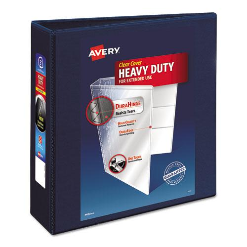 """Heavy-Duty View Binder with DuraHinge and Locking One Touch EZD Rings, 3 Rings, 3"""" Capacity, 11 x 8.5, Navy Blue. Picture 1"""