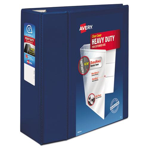 "Heavy-Duty View Binder with DuraHinge and Locking One Touch EZD Rings, 3 Rings, 5"" Capacity, 11 x 8.5, Navy Blue. Picture 1"