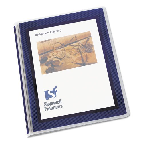 """Flexi-View Binder with Round Rings, 3 Rings, 0.5"""" Capacity, 11 x 8.5, Navy Blue. Picture 1"""