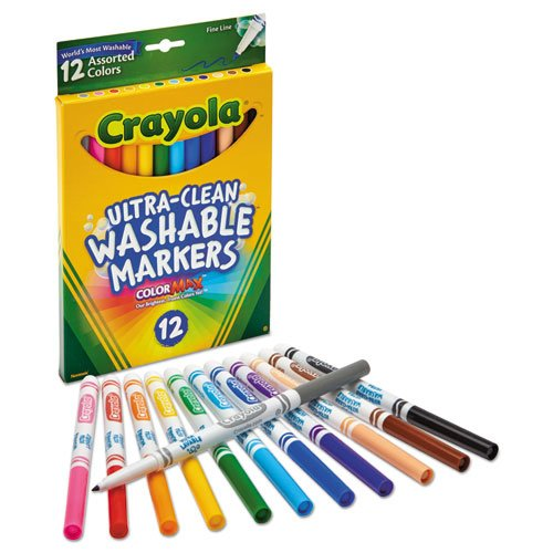 Ultra-Clean Washable Markers, Fine Bullet Tip, Assorted Colors, Dozen. Picture 2