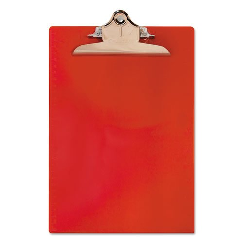 """Recycled Plastic Clipboard with Ruler Edge, 1"""" Clip Cap, 8 1/2 x 12 Sheets, Red. Picture 3"""
