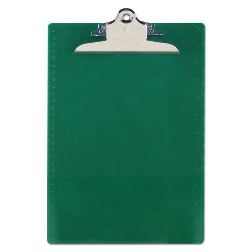 """Recycled Plastic Clipboard with Ruler Edge, 1"""" Clip Cap, 8 1/2 x 12 Sheet, Green. Picture 1"""