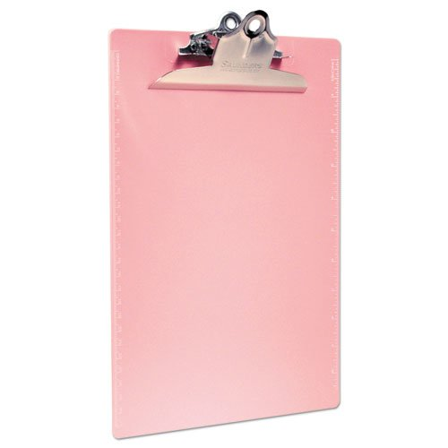 """Recycled Plastic Clipboard with Ruler Edge, 1"""" Clip Cap, 8 1/2 x 12 Sheets, Pink. Picture 2"""