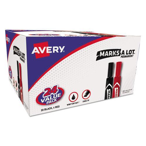 MARKS A LOT Regular Desk-Style Permanent Marker Value Pack, Broad Chisel Tip, Assorted Colors, 24/Pack. Picture 1