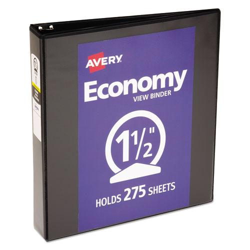 """Economy View Binder with Round Rings , 3 Rings, 1.5"""" Capacity, 11 x 8.5, Black, (5725). Picture 1"""
