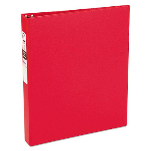"""Economy Non-View Binder with Round Rings, 3 Rings, 1"""" Capacity, 11 x 8.5, Red, (3310). Picture 1"""