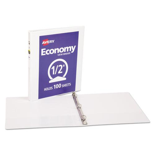 """Economy View Binder with Round Rings , 3 Rings, 0.5"""" Capacity, 11 x 8.5, White, (5706). Picture 6"""