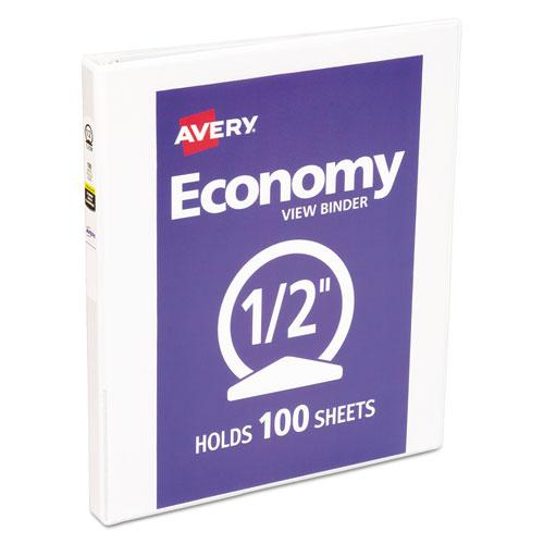 """Economy View Binder with Round Rings , 3 Rings, 0.5"""" Capacity, 11 x 8.5, White, (5706). Picture 1"""