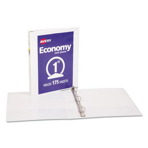 """Economy View Binder with Round Rings , 3 Rings, 1"""" Capacity, 11 x 8.5, White, (5711). Picture 4"""