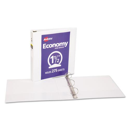 """Economy View Binder with Round Rings , 3 Rings, 1.5"""" Capacity, 11 x 8.5, White, (5726). Picture 6"""