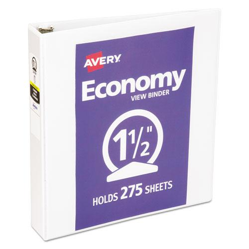 """Economy View Binder with Round Rings , 3 Rings, 1.5"""" Capacity, 11 x 8.5, White, (5726). Picture 1"""