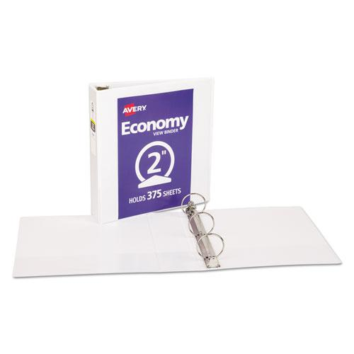 """Economy View Binder with Round Rings , 3 Rings, 2"""" Capacity, 11 x 8.5, White, (5731). Picture 7"""