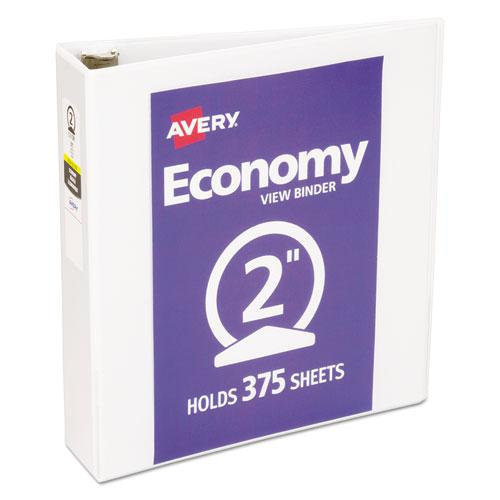 """Economy View Binder with Round Rings , 3 Rings, 2"""" Capacity, 11 x 8.5, White, (5731). Picture 1"""