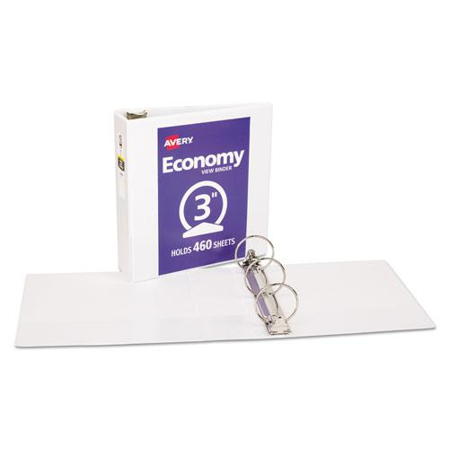 """Economy View Binder with Round Rings , 3 Rings, 3"""" Capacity, 11 x 8.5, White, (5741). Picture 3"""