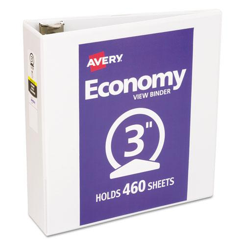 """Economy View Binder with Round Rings , 3 Rings, 3"""" Capacity, 11 x 8.5, White, (5741). Picture 1"""