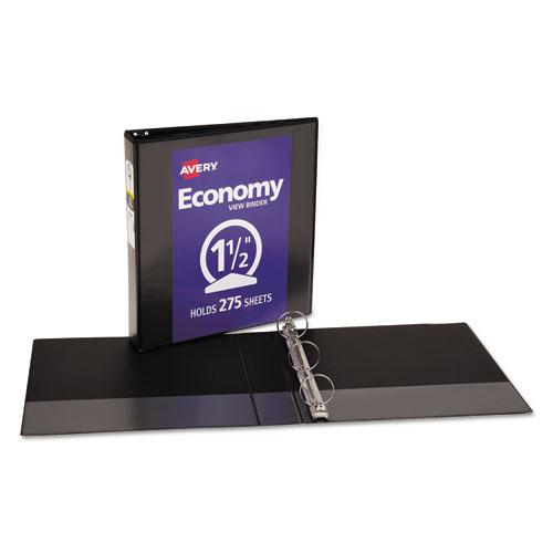 """Economy View Binder with Round Rings , 3 Rings, 1.5"""" Capacity, 11 x 8.5, Black, (5725). Picture 2"""
