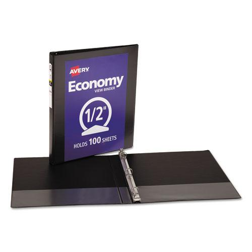 """Economy View Binder with Round Rings , 3 Rings, 0.5"""" Capacity, 11 x 8.5, Black, (5705). Picture 6"""
