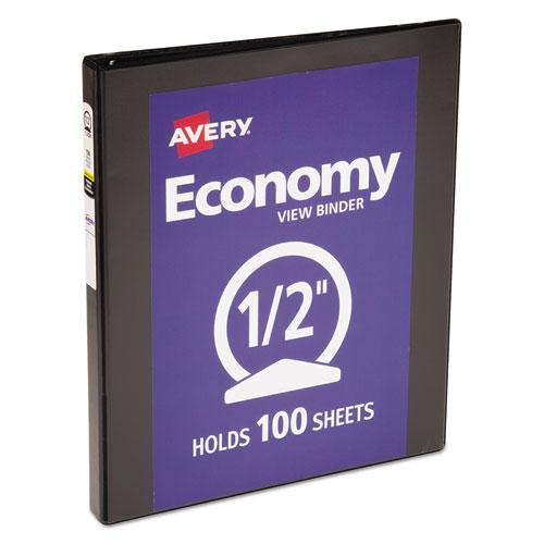 """Economy View Binder with Round Rings , 3 Rings, 0.5"""" Capacity, 11 x 8.5, Black, (5705). Picture 1"""