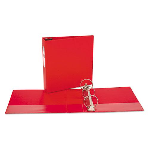 "Economy Non-View Binder with Round Rings, 3 Rings, 3"" Capacity, 11 x 8.5, Red, (3608). Picture 7"