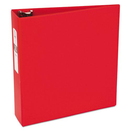 "Economy Non-View Binder with Round Rings, 3 Rings, 3"" Capacity, 11 x 8.5, Red, (3608). Picture 1"