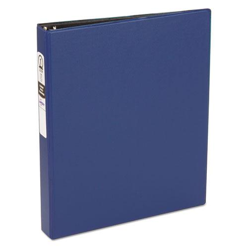 """Economy Non-View Binder with Round Rings, 3 Rings, 1"""" Capacity, 11 x 8.5, Blue, (3300). Picture 1"""
