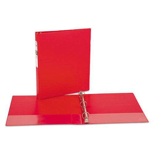 """Economy Non-View Binder with Round Rings, 3 Rings, 1"""" Capacity, 11 x 8.5, Red, (3310). Picture 8"""