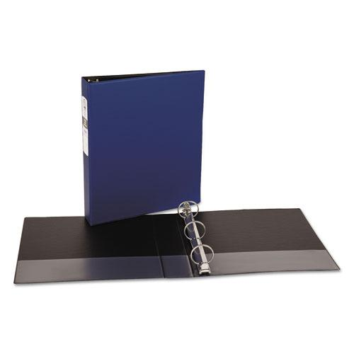 "Economy Non-View Binder with Round Rings, 3 Rings, 1.5"" Capacity, 11 x 8.5, Blue, (3400). Picture 4"