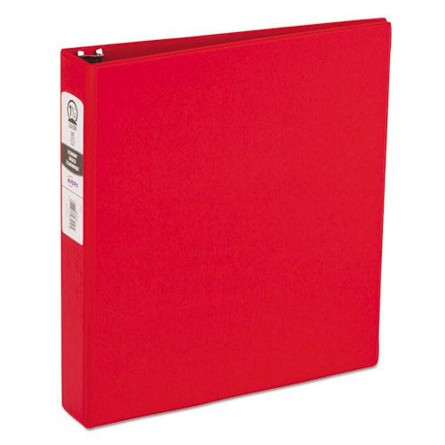 "Economy Non-View Binder with Round Rings, 3 Rings, 1.5"" Capacity, 11 x 8.5, Red, (3410). Picture 1"