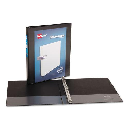 """Showcase Economy View Binder with Round Rings, 3 Rings, 0.5"""" Capacity, 11 x 8.5, Black. Picture 3"""