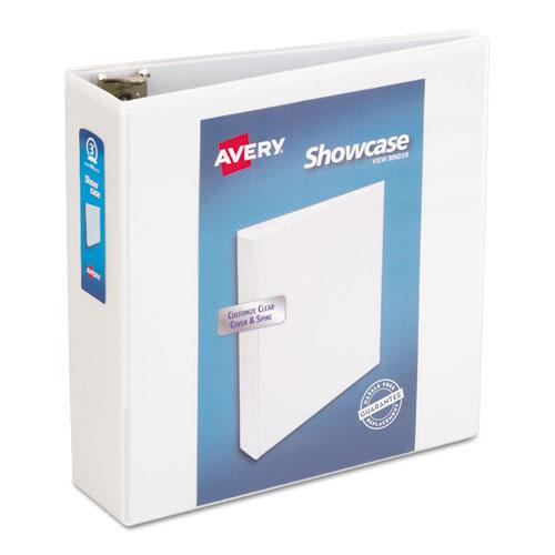"""Showcase Economy View Binder with Round Rings, 3 Rings, 3"""" Capacity, 11 x 8.5, White. Picture 1"""