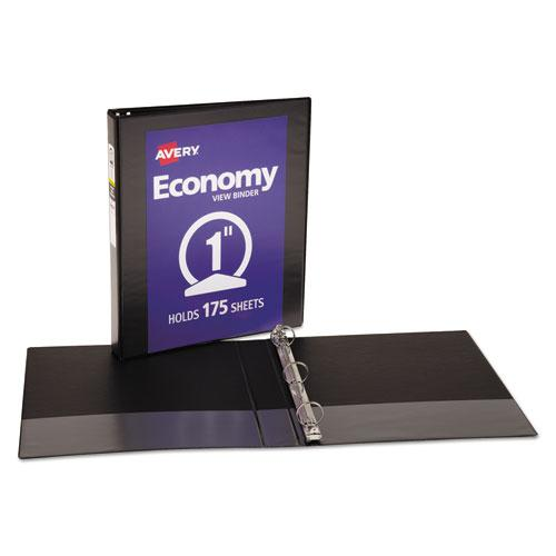 """Economy View Binder with Round Rings , 3 Rings, 1"""" Capacity, 11 x 8.5, Black, (5710). Picture 2"""