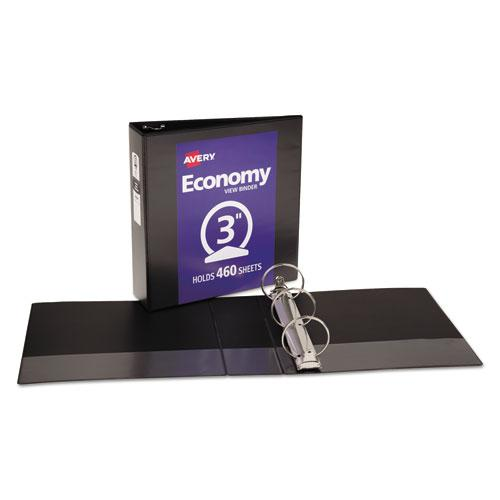 """Economy View Binder with Round Rings , 3 Rings, 3"""" Capacity, 11 x 8.5, Black, (5740). Picture 5"""