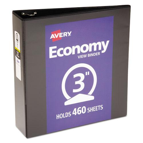 """Economy View Binder with Round Rings , 3 Rings, 3"""" Capacity, 11 x 8.5, Black, (5740). Picture 1"""