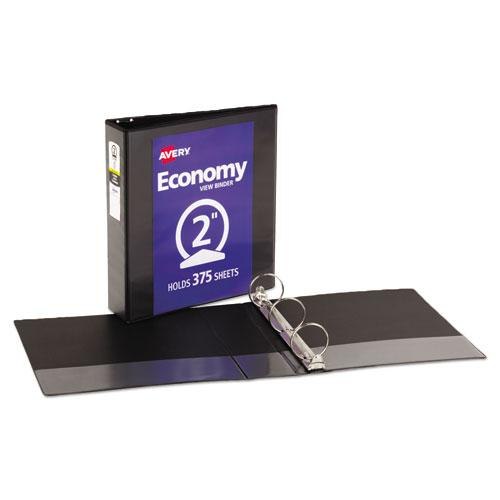 """Economy View Binder with Round Rings , 3 Rings, 2"""" Capacity, 11 x 8.5, Black, (5730). Picture 2"""