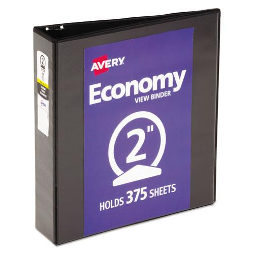 """Economy View Binder with Round Rings , 3 Rings, 2"""" Capacity, 11 x 8.5, Black, (5730). Picture 1"""