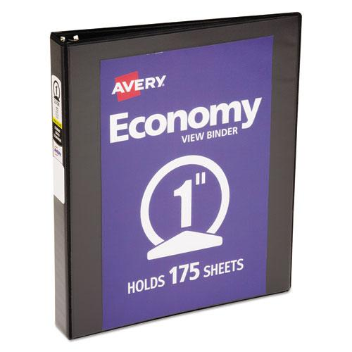 """Economy View Binder with Round Rings , 3 Rings, 1"""" Capacity, 11 x 8.5, Black, (5710). Picture 1"""