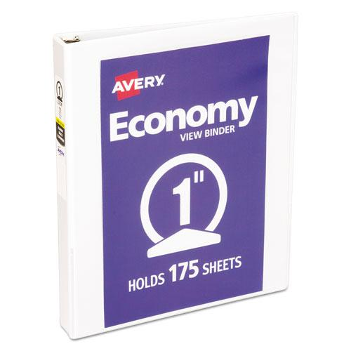 """Economy View Binder with Round Rings , 3 Rings, 1"""" Capacity, 11 x 8.5, White, (5711). Picture 1"""