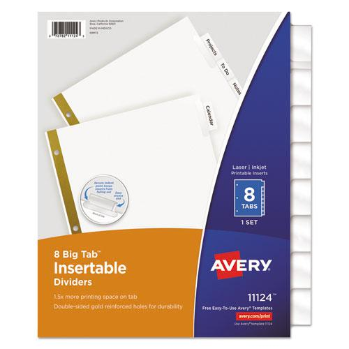 Insertable Big Tab Dividers, 8-Tab, Letter. Picture 1