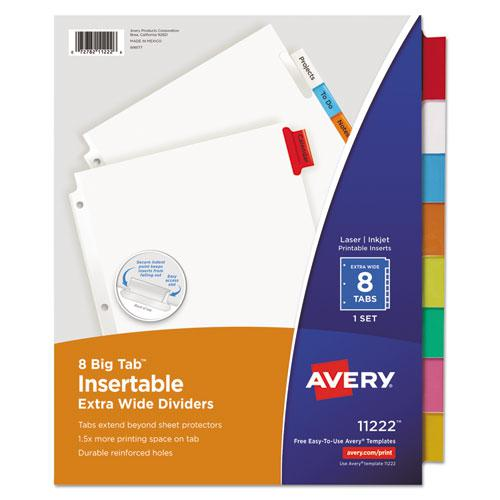 Insertable Big Tab Dividers, 8-Tab, 11 1/8 x 9 1/4. Picture 1