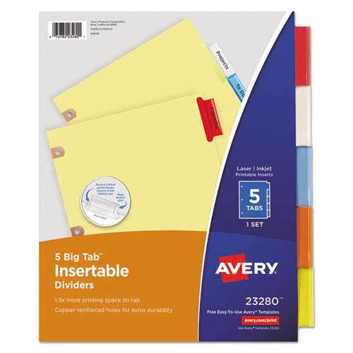 Insertable Big Tab Dividers, 5-Tab, Letter. Picture 1