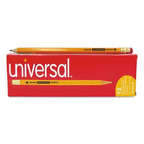 Deluxe Blackstonian Pencil, F (#2.5), Black Lead, Yellow Barrel, Dozen. Picture 2