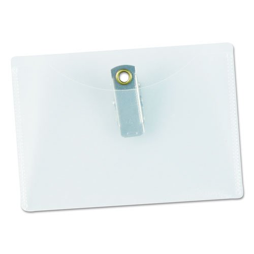 Clear Badge Holders w/Garment-Safe Clips, 2 1/4 x 3 1/2, White Inserts, 50/Box. Picture 4