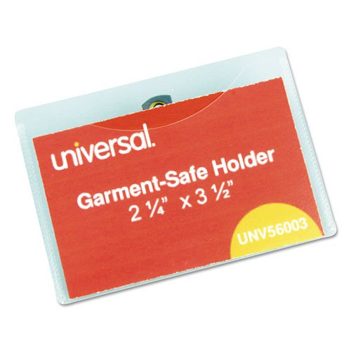 Clear Badge Holders w/Garment-Safe Clips, 2 1/4 x 3 1/2, White Inserts, 50/Box. Picture 1