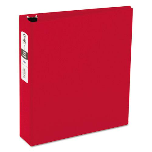 "Economy Non-View Binder with Round Rings, 3 Rings, 2"" Capacity, 11 x 8.5, Red, (3510). Picture 1"