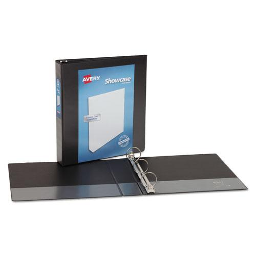 """Showcase Economy View Binder with Round Rings, 3 Rings, 1.5"""" Capacity, 11 x 8.5, Black. Picture 3"""