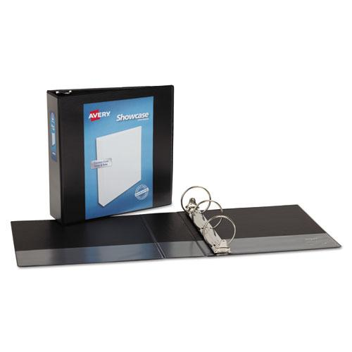 """Showcase Economy View Binder with Round Rings, 3 Rings, 3"""" Capacity, 11 x 8.5, Black. Picture 2"""