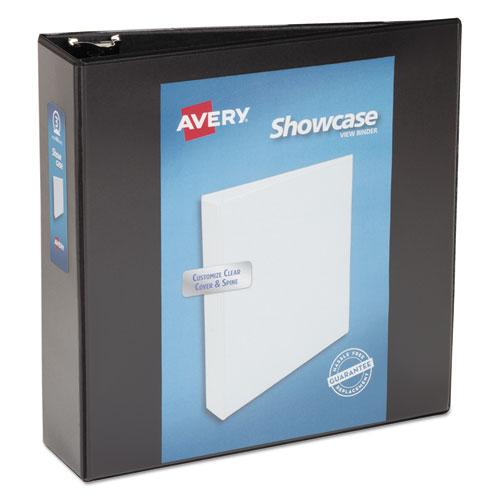 """Showcase Economy View Binder with Round Rings, 3 Rings, 3"""" Capacity, 11 x 8.5, Black. Picture 1"""